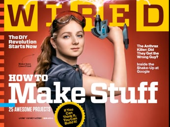 Magazine cover of WIRED, with woman rolling up sleeve like Rosie the Riveter.