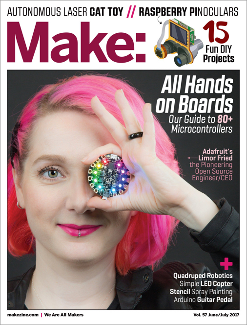 Cover of Make Magazine, with pink-hair woman holding up a round circuit board in front of one eye. Cover title is 'All Hands on Boards: Our Guide to 80+ Microcontrollers' subtitle is 'Adafruit's Limor Fried: the pioneering open source Engineer/CEO'