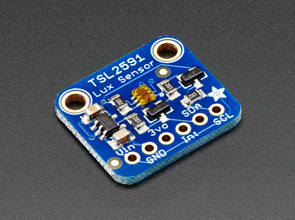 Isometric shot of a TSL2561 light sensor breakout board PCB
